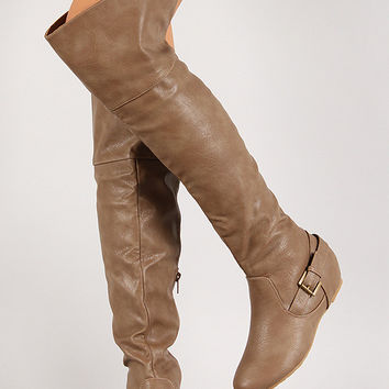 Buckle Hidden Wedge Knee High Boot
