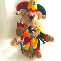 Little Gems Teddy Bear, Jester Bear, Deborah Canham, Original Case, Miniature Teddy Bear
