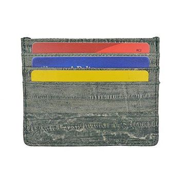 Waterproof Genuine Eel Skin Soft Leather Slim Thin Credit Card Holder Wallet