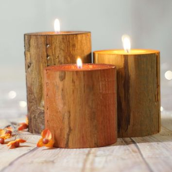 Fall Decor Log Candles, Harvest Colors, Thanksgiving Table