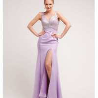 Lavender Satin & Beaded Basque Gown