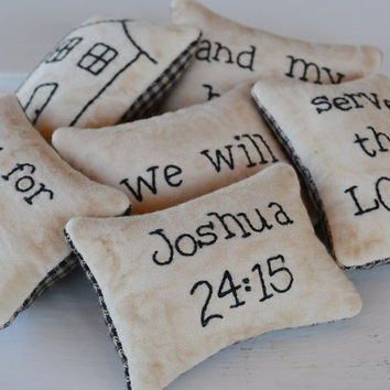 Religious Bowl Fillers - Decorative Pillows - Tucks - Ornies - Joshua 24 - As for Me and My House - Scripture - Primitive - Gingham