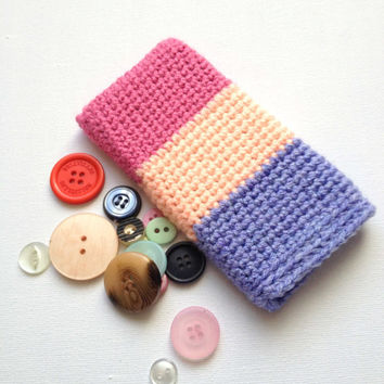 Pink iPhone 5 Sleeve, Pink and Purple Crochet Cell Cosy, Girls Phone Sleeve, Pink Stripes, Nokia Lumia Case, Hand Knit iPhone 5 Case