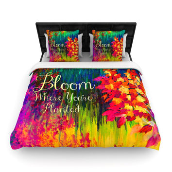 "Ebi Emporium ""Bloom Where You're Planted"" Floral Woven Duvet Cover"