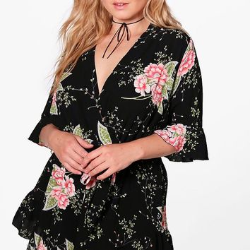 Plus Rita Ruffle Hem Printed Playsuit | Boohoo