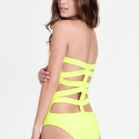 Electric Strapless One Piece Swimsuit By Beach Riot