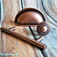 Copper Knobs Weathered Copper Drawer Knobs Industrial Farmhouse Furniture Knobs Rustic Cabinet Knobs Dresser Knobs Copper Dresser Hardware