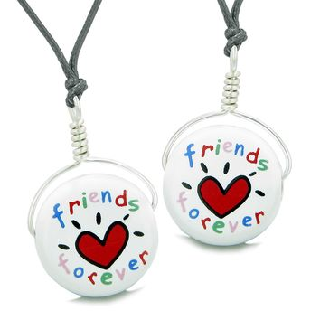 Love Couples or Best Friends Forever Set Cute Ceramic Lucky Charm Amulet Adjustable Necklaces