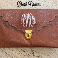 Dark Brown Scalloped Monogram Clutch Purse!!
