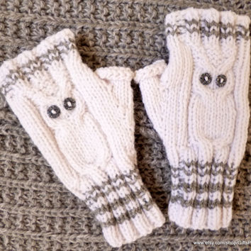 Owl Mittens Fingerless Gloves Handknit Winter Mitts Gift for Girls Women  White Owl Wrist Warmers