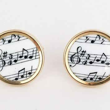 KREMENTZ Music Cufflinks Vintage 1960s 1970s Gold Tone Musical Notes Jewelry Set Round Father's Day Gift Musician Unisex Cuff Links