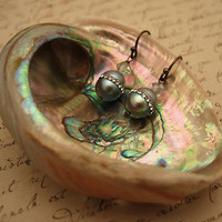 Dove Grey Pearl Earrings with inlaid crystals