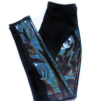 Black Hologram High Waisted Leggings