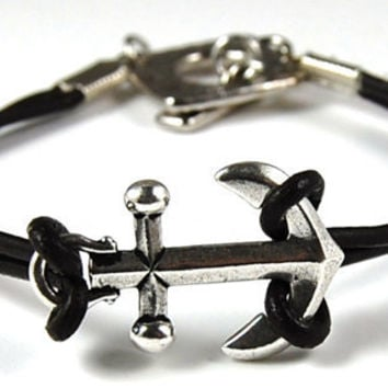 Silver Anchor Bracelet with Dark Brown Leather Cord and Toggle Clasp