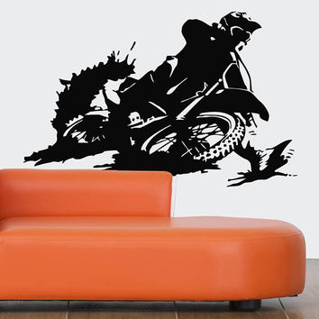 Motocross Wall Decal, Dirt Bike Wall Sticker, Motocross Supercross Wall Mural Decor, Motorcycle Racing Room Decoration Art Enduro Bike se164