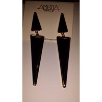Amrita Singh Northampton Black Double Triangle Drop Earrings 33% off retail