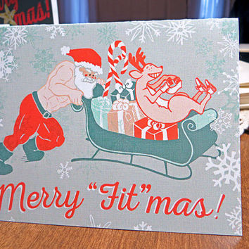 Crossfit Inspired Christmas Cards - Merry Fitmas Santa Sled Push - Fitness Weightlifting Holiday Greeting Card