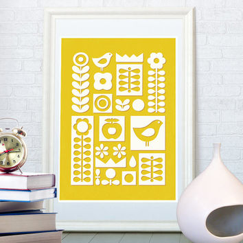 Nordic folk ornament art print, Scandinavian style, Mid century modern, Home decor, Pop art poster