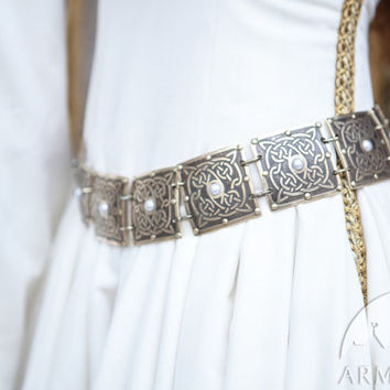 "Women's belt ""The Accolade""; etched brass belt; decorated belt with pearls"