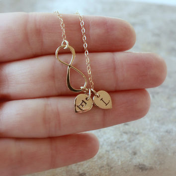 Gold Infinity Necklace - Personalized Charm Necklace . His and Her Initials . Gold Initial Necklace . Custom Letters. Girlfriend . Couple