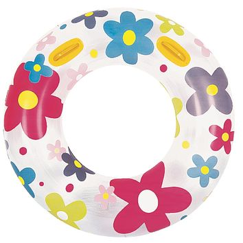 """42"""" Fashion Flower Print Inflatable Swimming Pool Inner Tube Ring Float with Handles"""