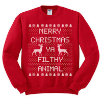 Red Crewneck Merry Christmas Ya Filthy Animal Ugly Christmas Sweatshirt Sweater Jumper Pullover