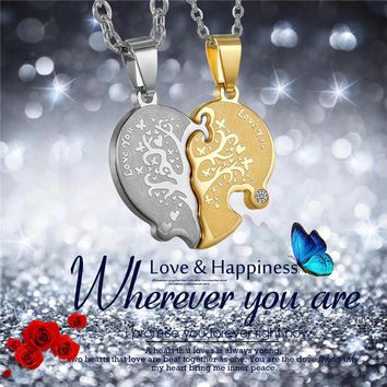 "2pc Valentine's Day Boniskiss Broken Heart ""Love You"" Life Tree Pendant Necklace Women Lovers Couples Charm Jewelry Xmas Gifts"
