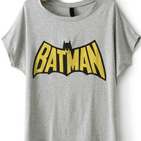 BATMAN Print Grey T-Shirt