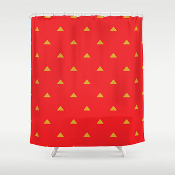 Red and Mustard Triangles Shower Curtain by Kat Mun