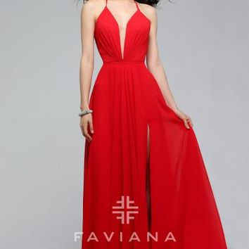 Faviana Long Chiffon Dress 7747