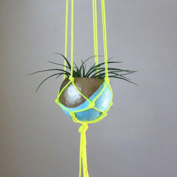 Macrame Air Plant Hanging Planter With Tillandsia In Pod Planter   Aqua Gold Bronze Neon Yellow.  Home Decor