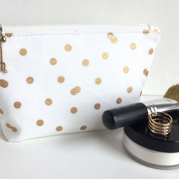 Small Makeup Bag, Small Zipper Pouch, Bridal Shower Gift, Bridesmaid Bag, Polka Dot makeup bag, White Makeup Bag, Gold Makeup Bag