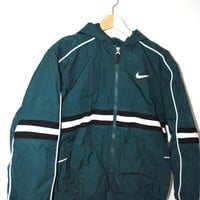 90s nike jacket 1990s vintage warm hooded athletic stripe nike winter coat windbreaker small