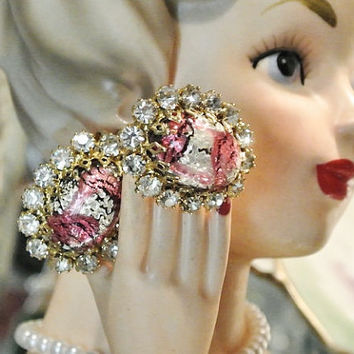Clip On Earrings Mid Century Foil Art Glass Dragon Egg Earrings Rhinestones 1950s 50s 1960s 60s Schreiner Haskell Juliana Earrings Button