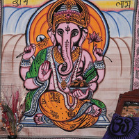 Indian Lord Ganesh Bedcover, Indian Tapestry, Wall Hanging, Hippy Hippie Tapestry, Ganesha Bedcover, Ganesh Wall Hanging, Twin Tapestry