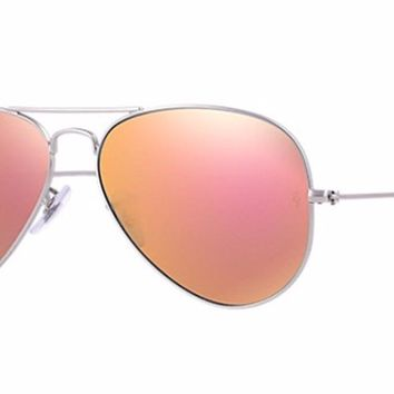 New Authentic RAY-BAN Sunglasses RB 3025 019/Z2 Silver/Peach Mirror 58mm