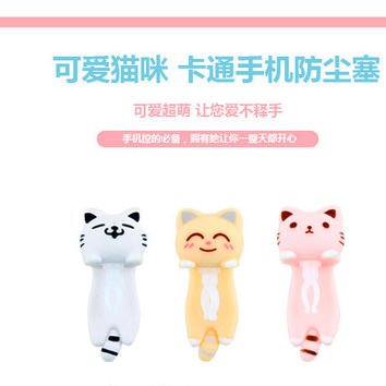 3.5mm Cute Cartoon cat  Design Mobile Phone Ear Cap Dust Plug For Iphone Samsung dust plug