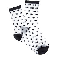 Sheer Heart Patterned Socks