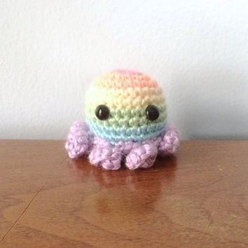 Pastel Rainbow Octopus - Pride Plush - Gay Crochet - Rainbow Plushies - Crocheted Animals - LGBT Support - Kawaii Octopus - Amigurumi Animal