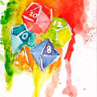 Polyhedral Dice Original Watercolor Painting: Tabletop Gaming and Dungeons & Dragons