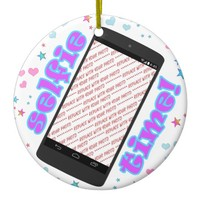 Selfie Time! Phone Shape Photo Frame Ceramic Ornament