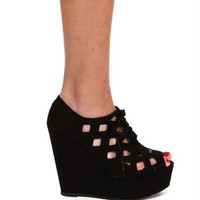 Black Cutout Lace Up Wedge
