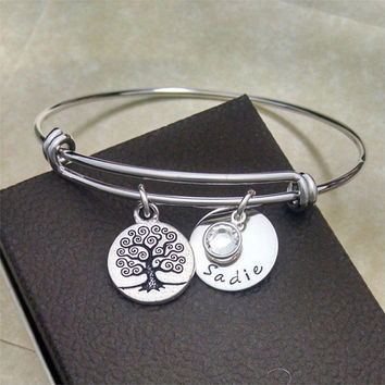 Adjustable Silver Bangle, Family Tree, Name Bracelet, Tree of Life, Birthstone Jewelry, Expandable Bangle Bracelet