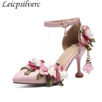 New Nude shoes women fairy shoes summer sandals flowers pearl sw 87c011867