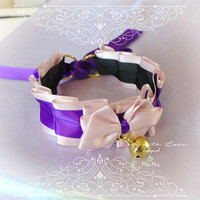 Kitten Pet Play Cat Collar Choker Necklace Pink Purple Bow Gold Bell Bow Kitty Cute pastel goth Lolita Neko BDSM DDLG