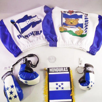 5 pcs Set : HONDURAS  Car Coverset, Hondurian Mini Flag, Hondurian  Glove  Keychain, Mini Car Boxing Gloves