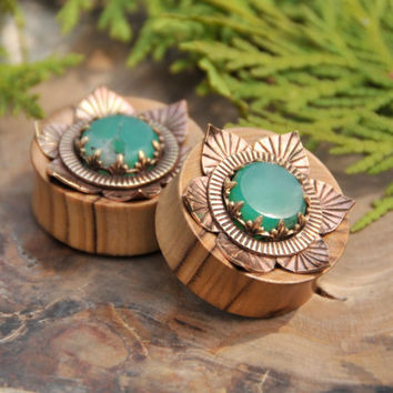 Olive Wood Plugs With Brass Lotus and Chysoprase