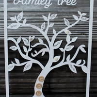 Wooden family tree personalised with your family names on