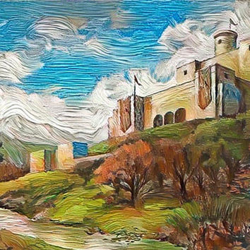 Game of Thrones Original Oil Painting - Westerosi Castle- 12x12 to 24x36 painting/poster/canvas; great gift idea