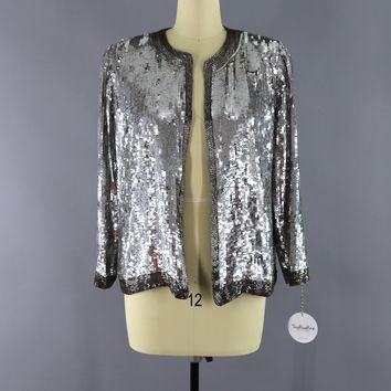 Vintage 1980s Silver Sequined Silk Jacket